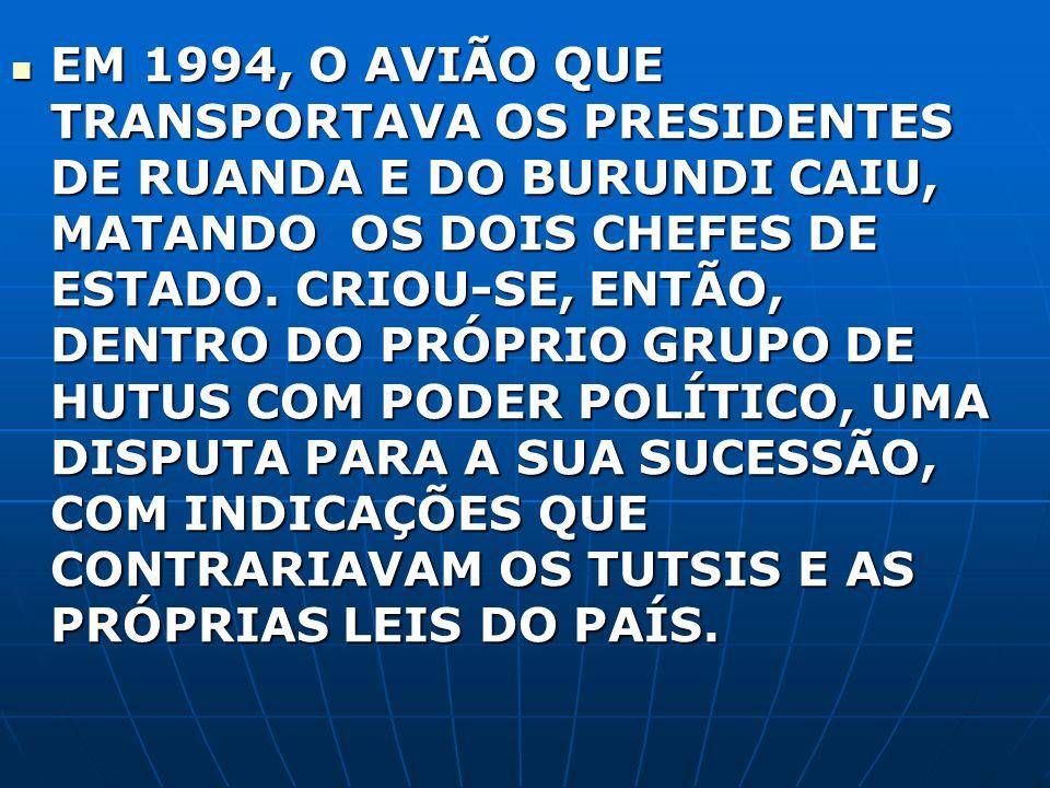 EM 1994, O AVIÃO QUE TRANSPORTAVA OS PRESIDENTES DE RUANDA E DO BURUNDI CAIU, MATANDO OS DOIS CHEFES DE ESTADO.