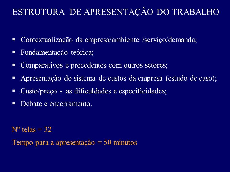 ESTRUTURA DE APRESENTAÇÃO DO TRABALHO