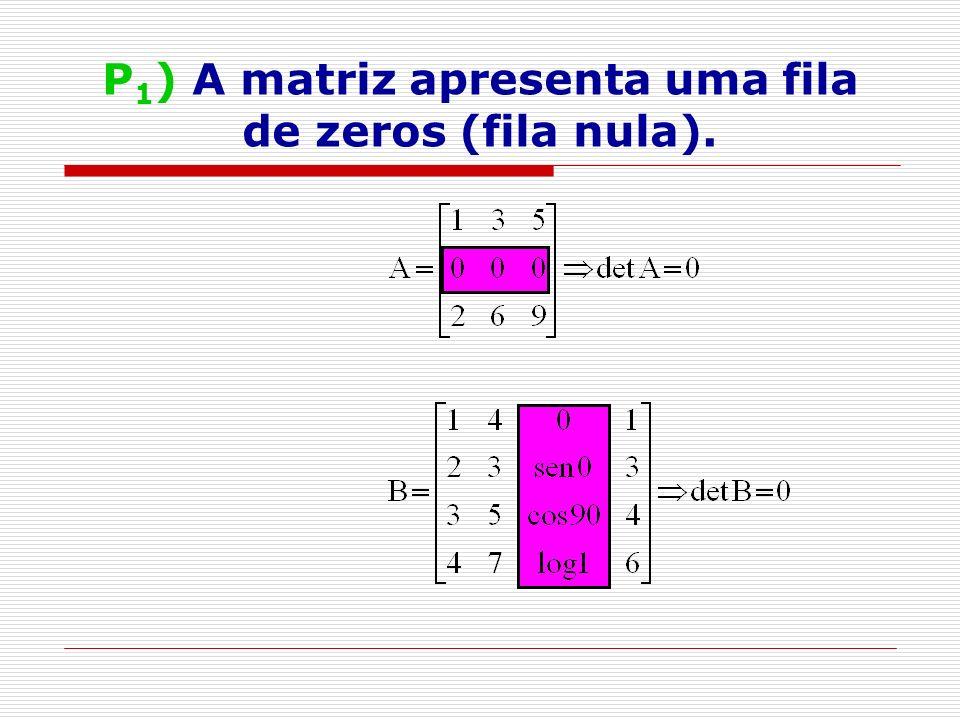 P1) A matriz apresenta uma fila de zeros (fila nula).