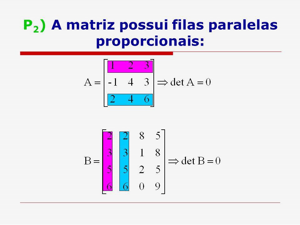 P2) A matriz possui filas paralelas proporcionais:
