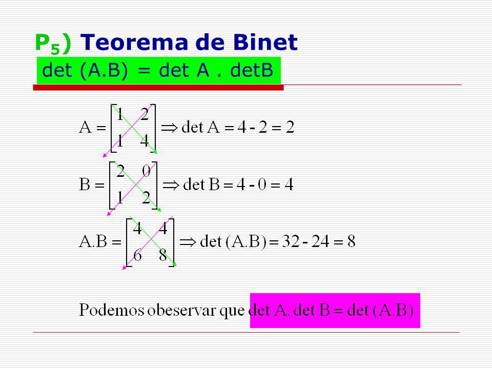 P5) Teorema de Binet det (A.B) = det A . detB