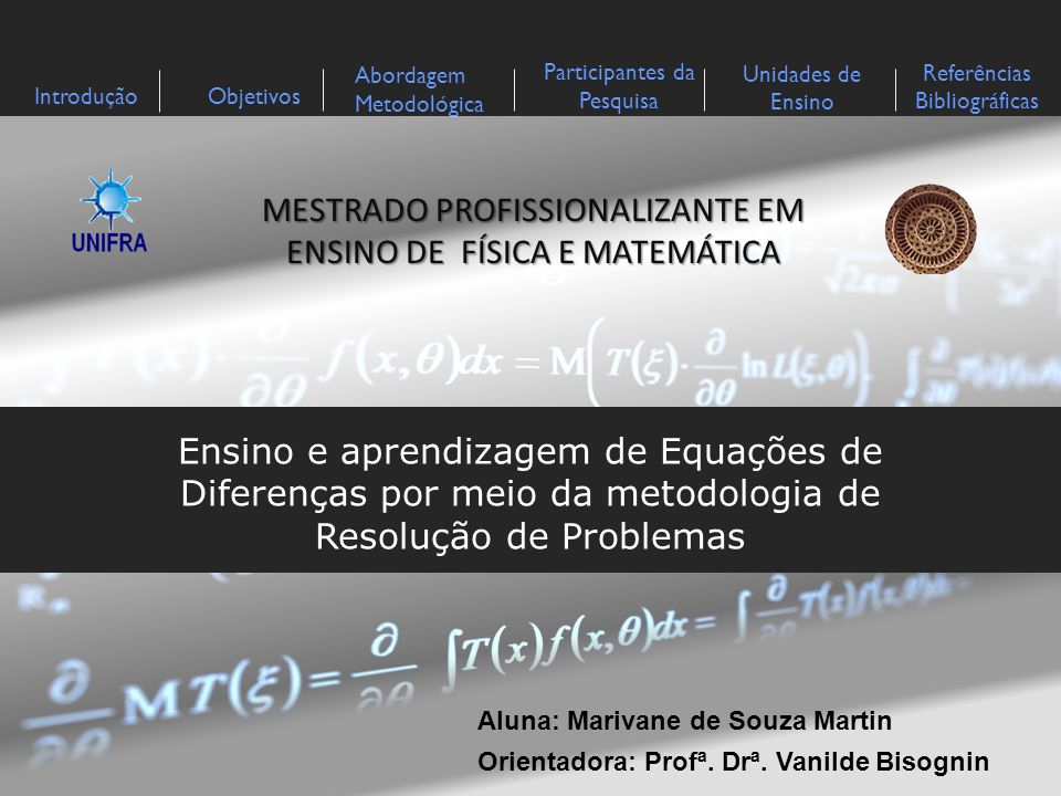 MESTRADO PROFISSIONALIZANTE EM ENSINO DE FÍSICA E MATEMÁTICA