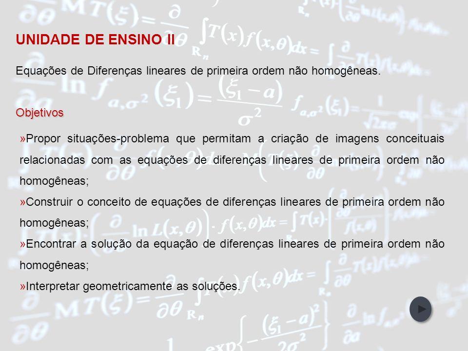 UNIDADE DE ENSINO II Equações de Diferenças lineares de primeira ordem não homogêneas. Objetivos.