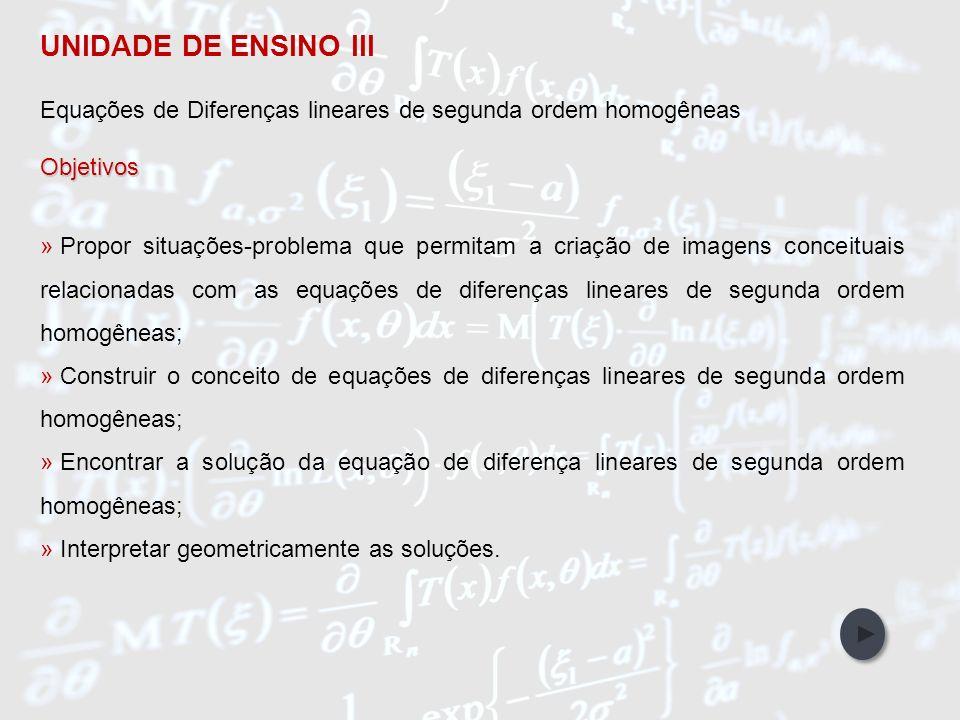 UNIDADE DE ENSINO III Equações de Diferenças lineares de segunda ordem homogêneas. Objetivos.