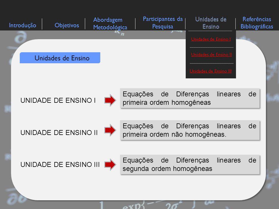 Equações de Diferenças lineares de primeira ordem homogêneas