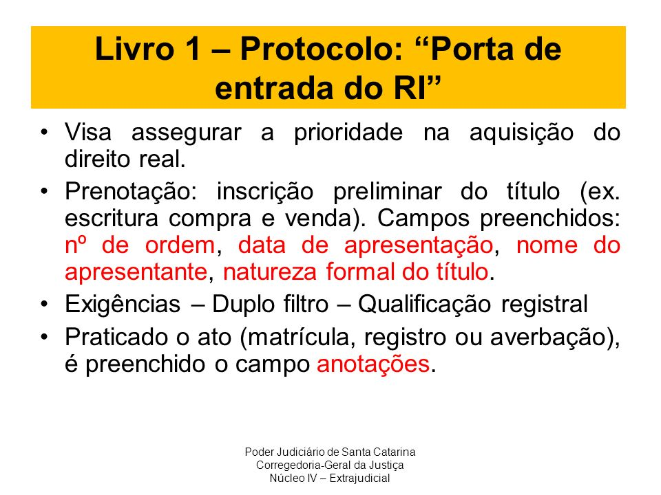 Livro 1 – Protocolo: Porta de entrada do RI