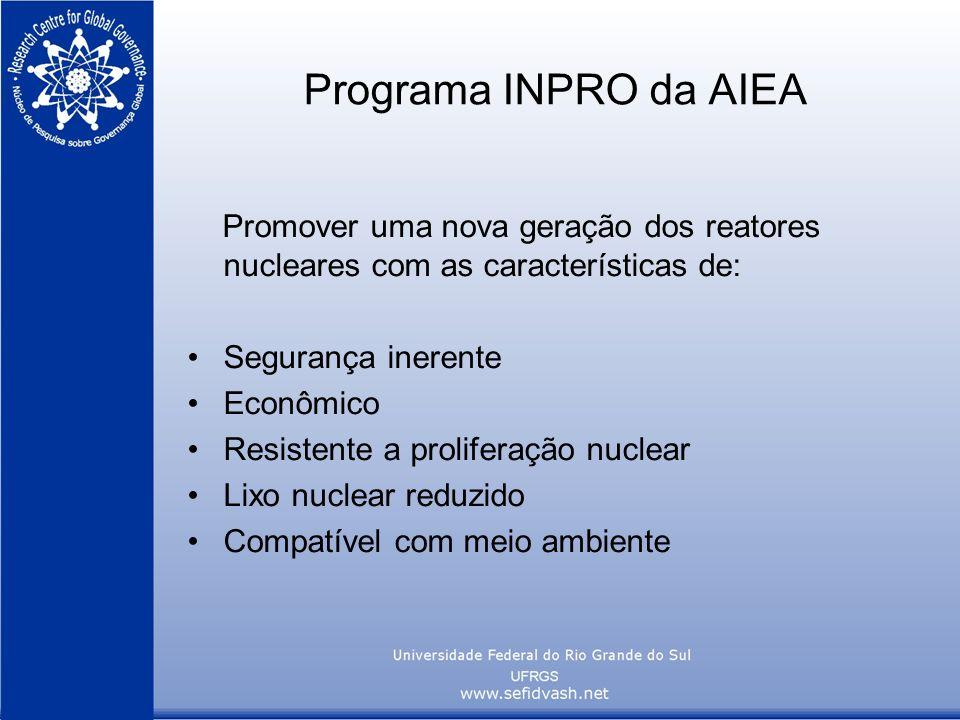Programa INPRO da AIEA Promover uma nova geração dos reatores nucleares com as características de: Segurança inerente.