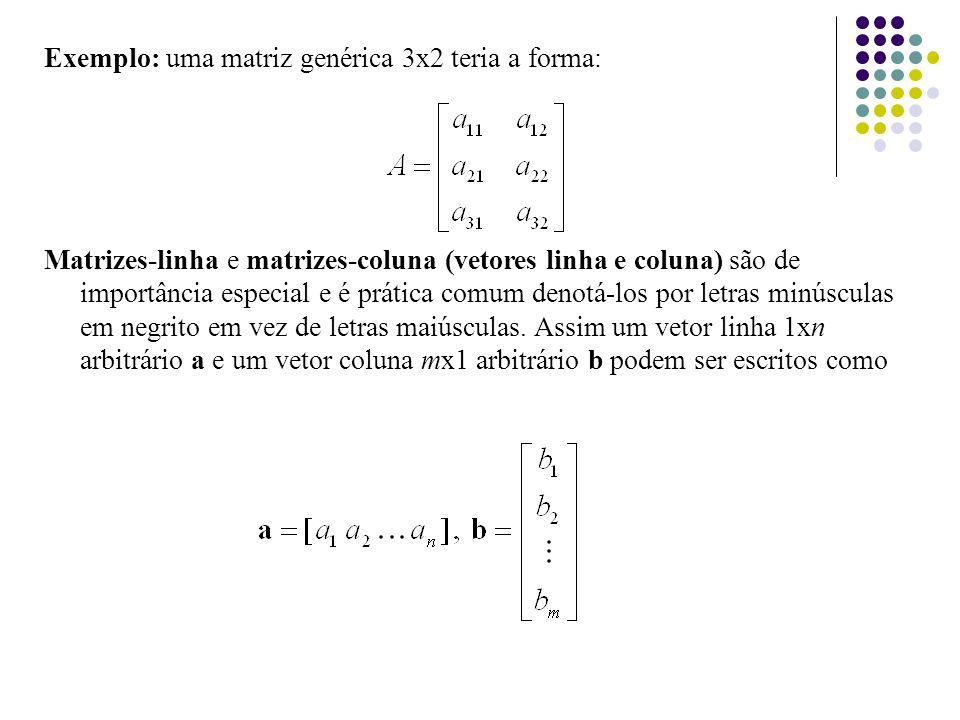 Exemplo: uma matriz genérica 3x2 teria a forma: