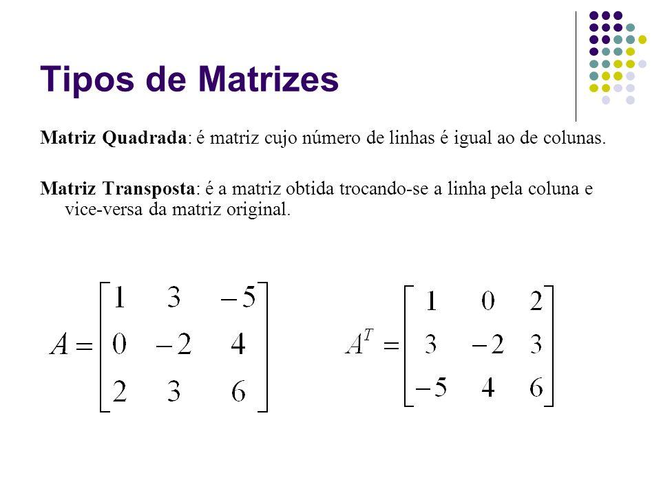Tipos de Matrizes Matriz Quadrada: é matriz cujo número de linhas é igual ao de colunas.