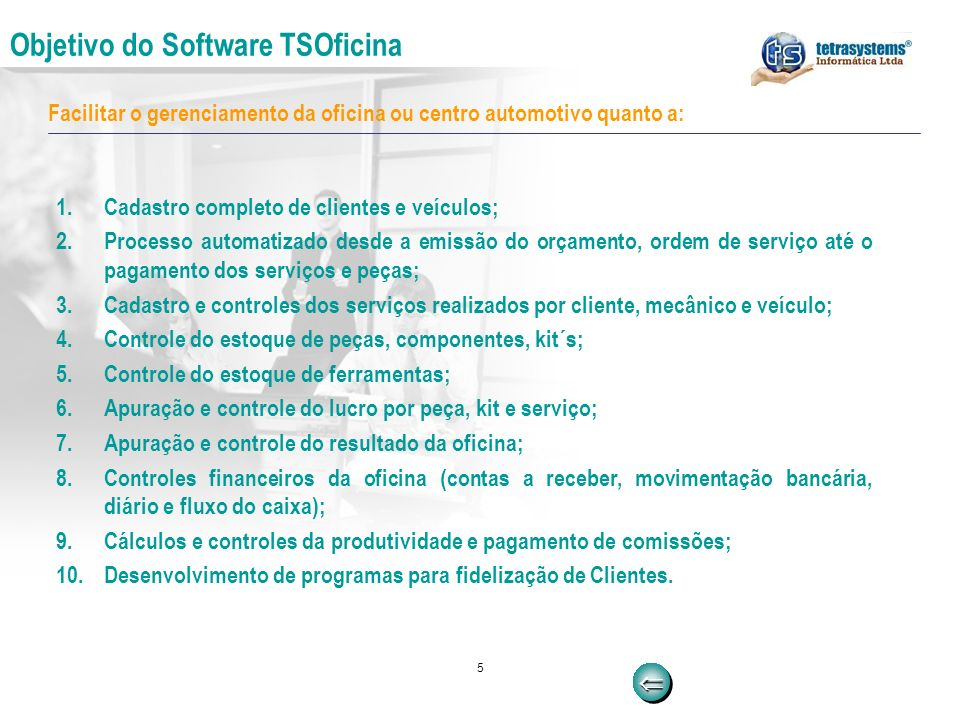 Objetivo do Software TSOficina