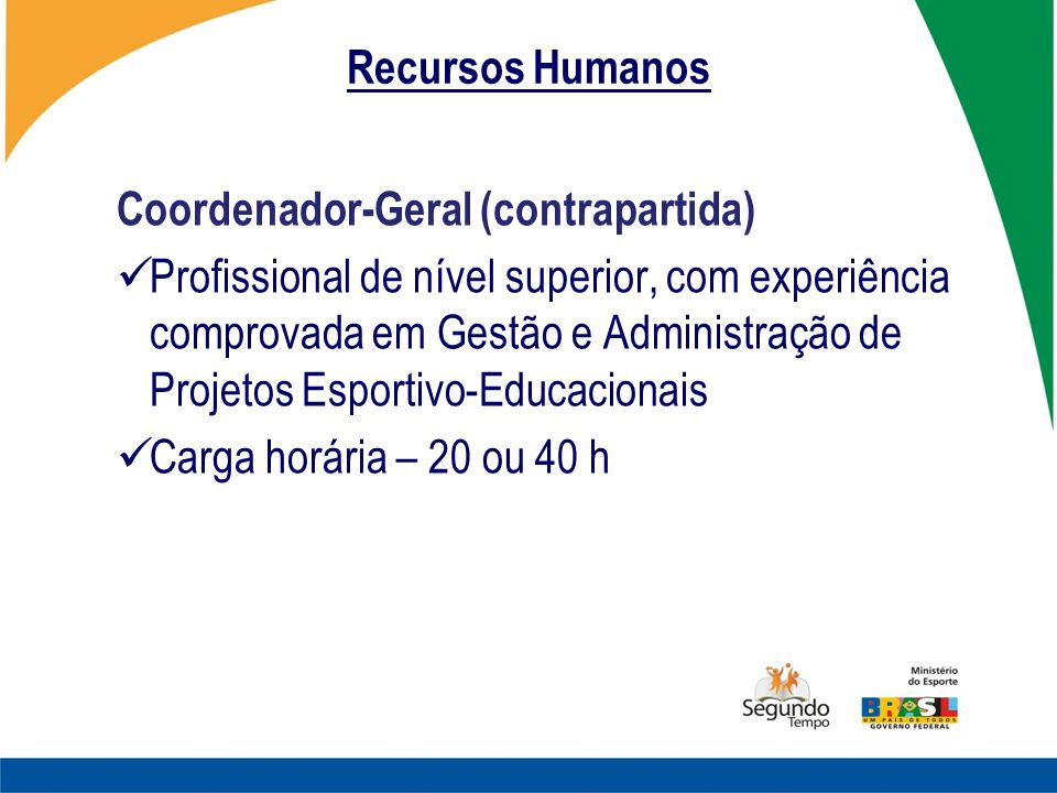 Recursos Humanos Coordenador-Geral (contrapartida)