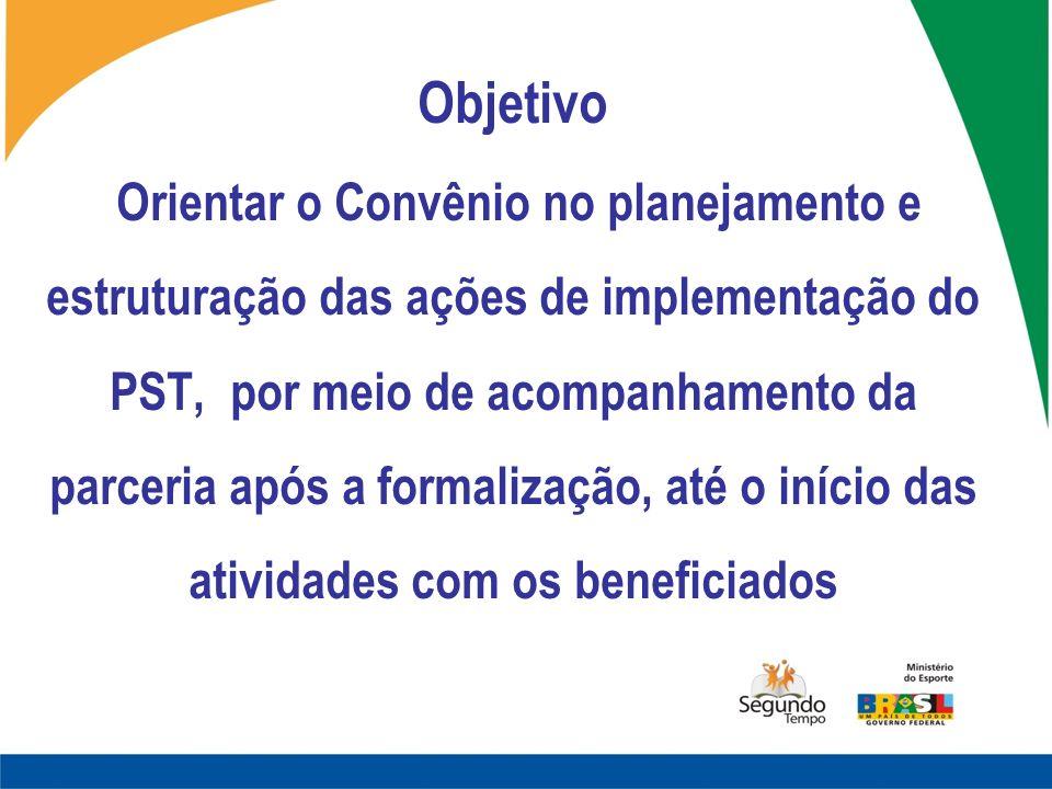 Objetivo Orientar o Convênio no planejamento e estruturação das ações de implementação do PST, por meio de acompanhamento da parceria após a formalização, até o início das atividades com os beneficiados