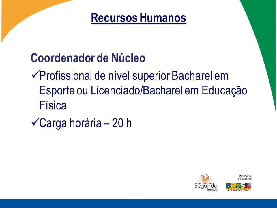 Recursos Humanos Coordenador de Núcleo. Profissional de nível superior Bacharel em Esporte ou Licenciado/Bacharel em Educação Física.