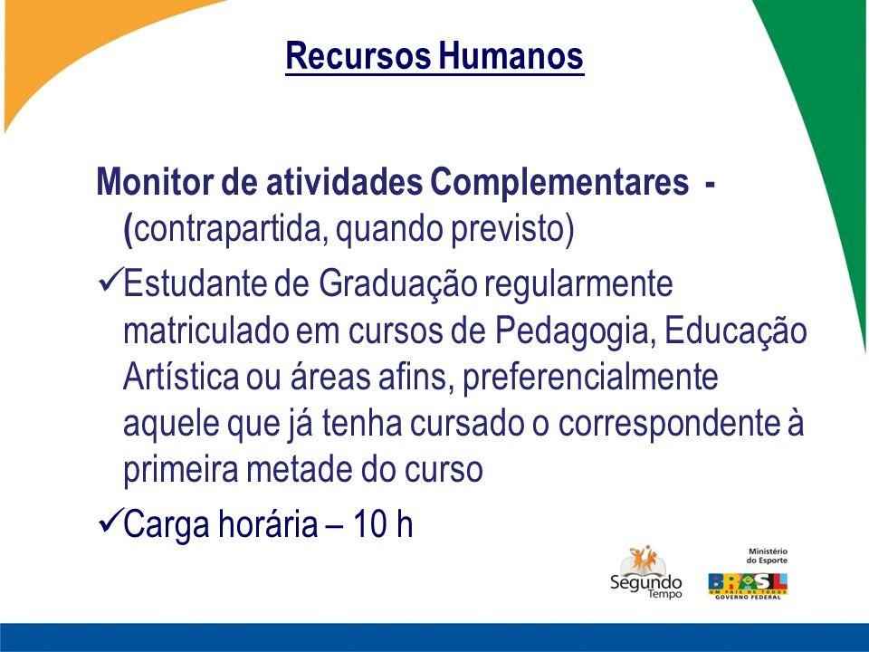 Recursos Humanos Monitor de atividades Complementares - (contrapartida, quando previsto)