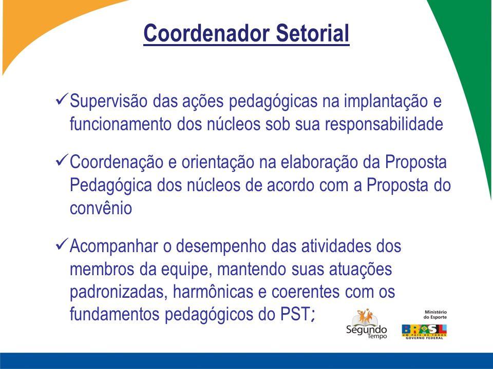 Coordenador Setorial Supervisão das ações pedagógicas na implantação e funcionamento dos núcleos sob sua responsabilidade.