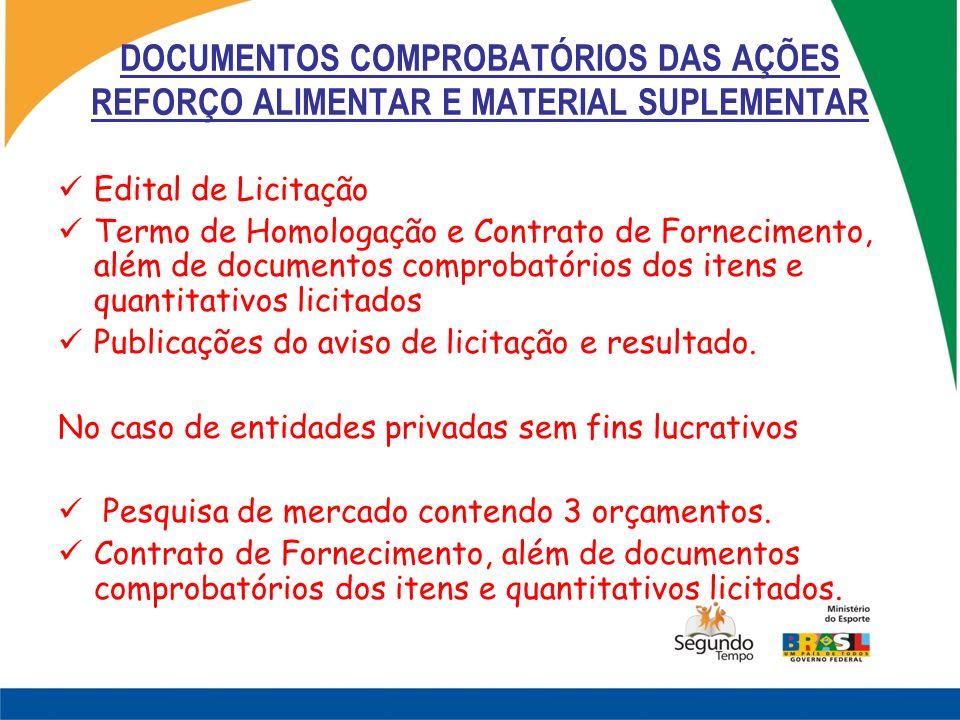 DOCUMENTOS COMPROBATÓRIOS DAS AÇÕES REFORÇO ALIMENTAR E MATERIAL SUPLEMENTAR