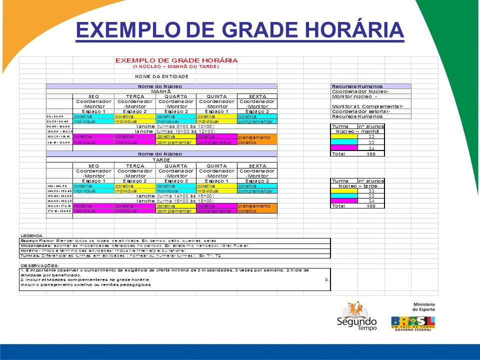 EXEMPLO DE GRADE HORÁRIA