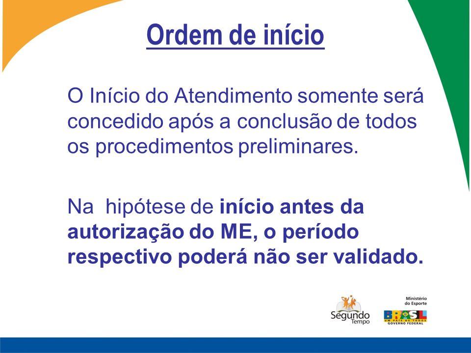 Ordem de início O Início do Atendimento somente será concedido após a conclusão de todos os procedimentos preliminares.