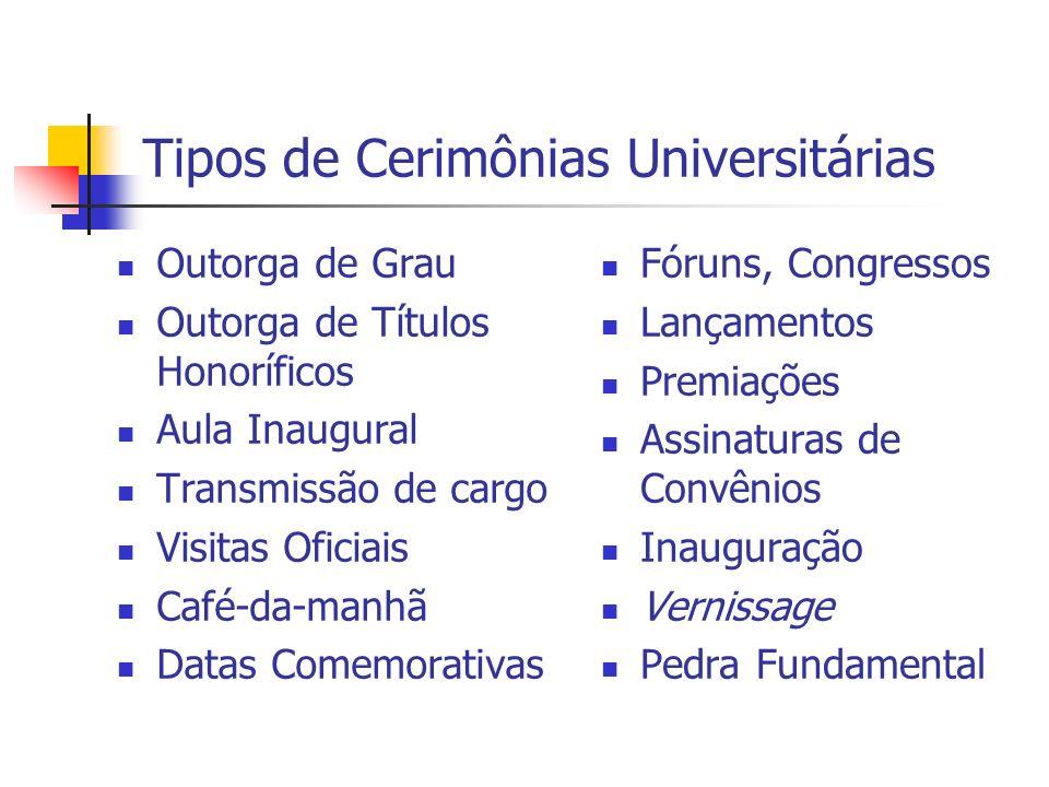 Tipos de Cerimônias Universitárias