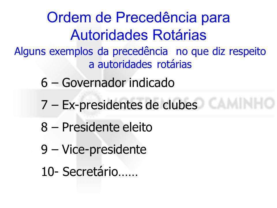 Ordem de Precedência para Autoridades Rotárias