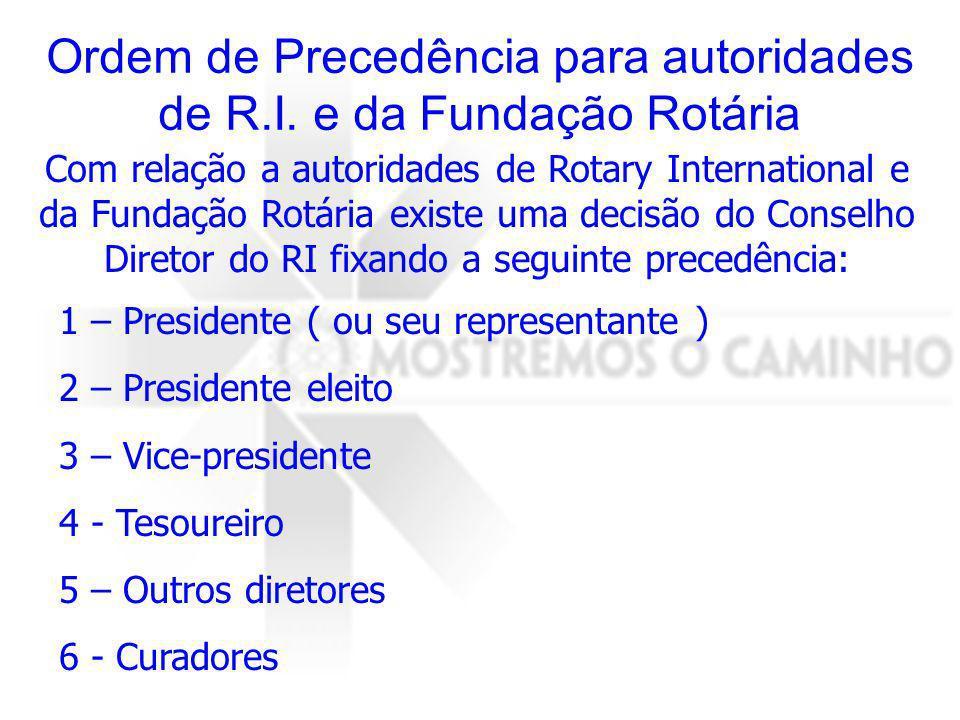 Ordem de Precedência para autoridades de R.I. e da Fundação Rotária