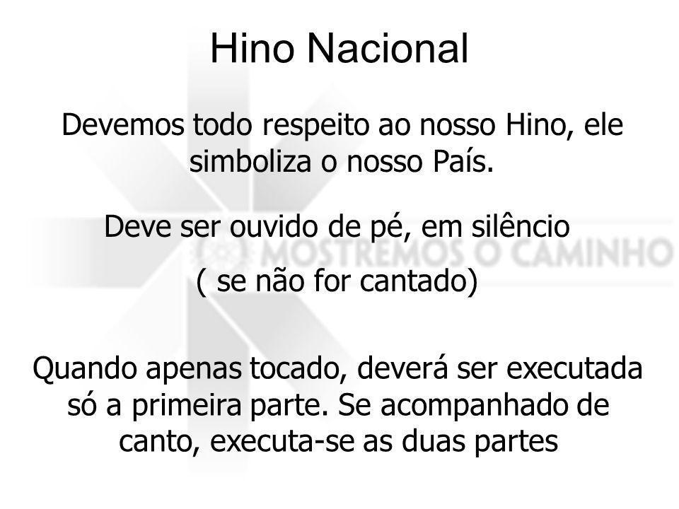 Hino Nacional Devemos todo respeito ao nosso Hino, ele simboliza o nosso País. Deve ser ouvido de pé, em silêncio.