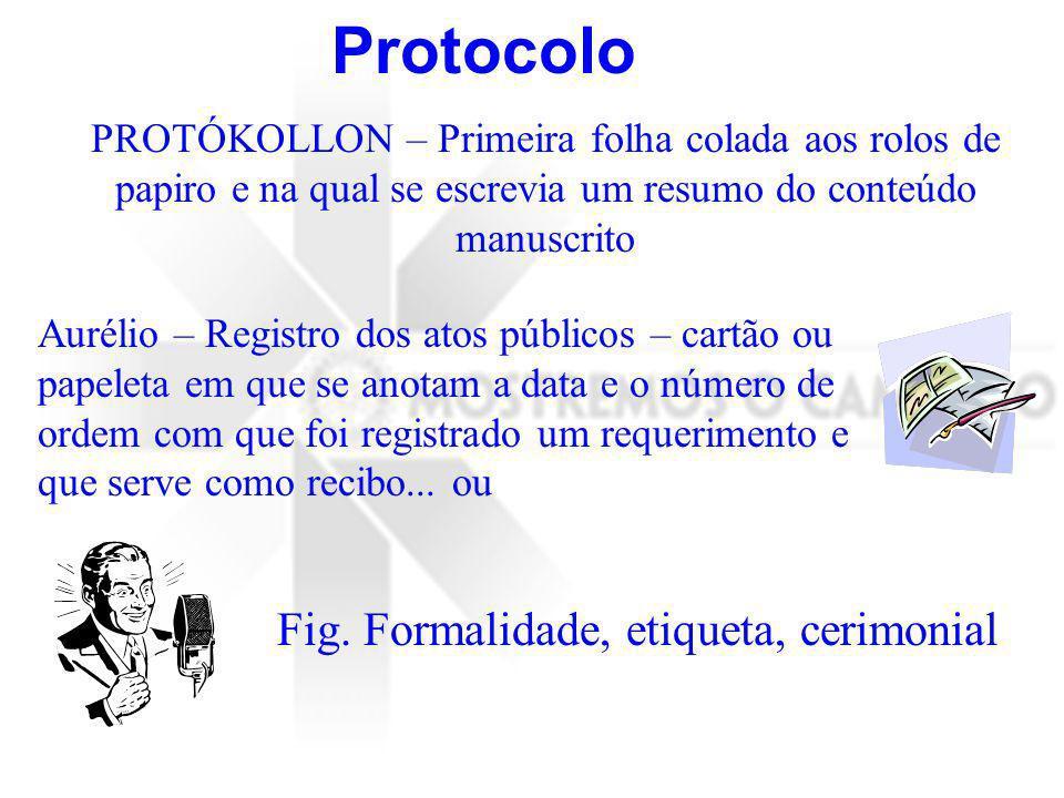Protocolo Fig. Formalidade, etiqueta, cerimonial