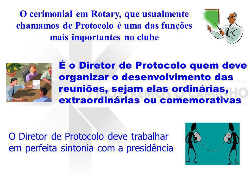 O cerimonial em Rotary, que usualmente chamamos de Protocolo é uma das funções mais importantes no clube
