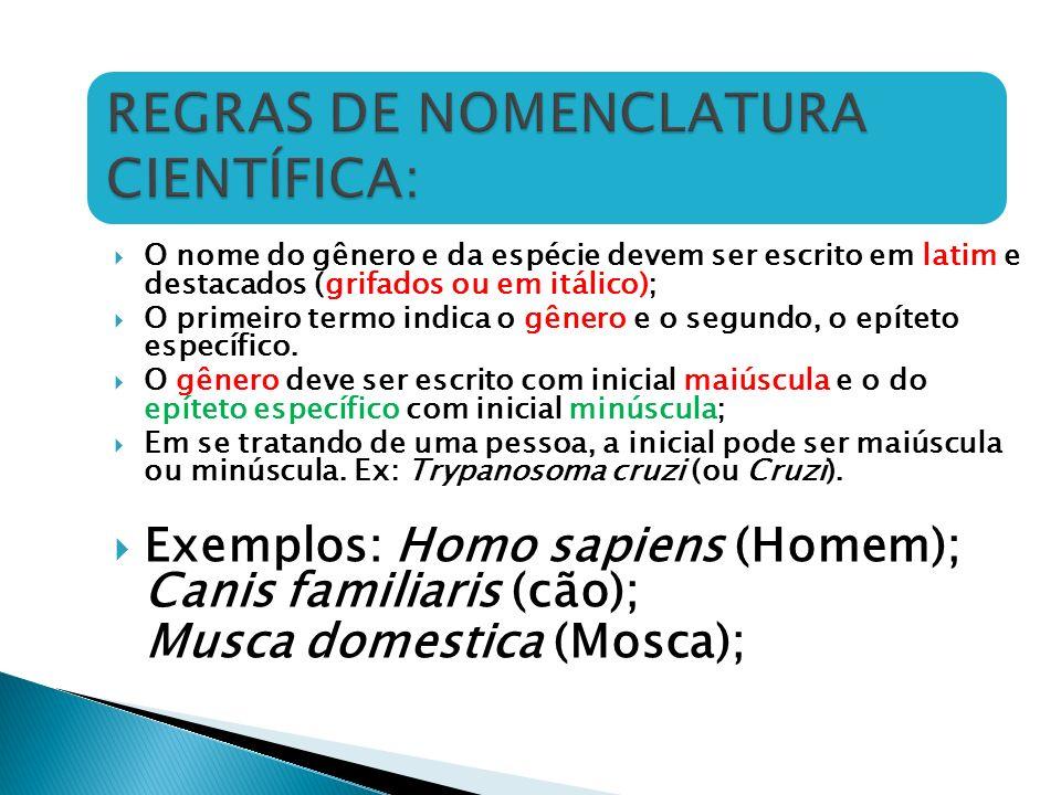 REGRAS DE NOMENCLATURA CIENTÍFICA: