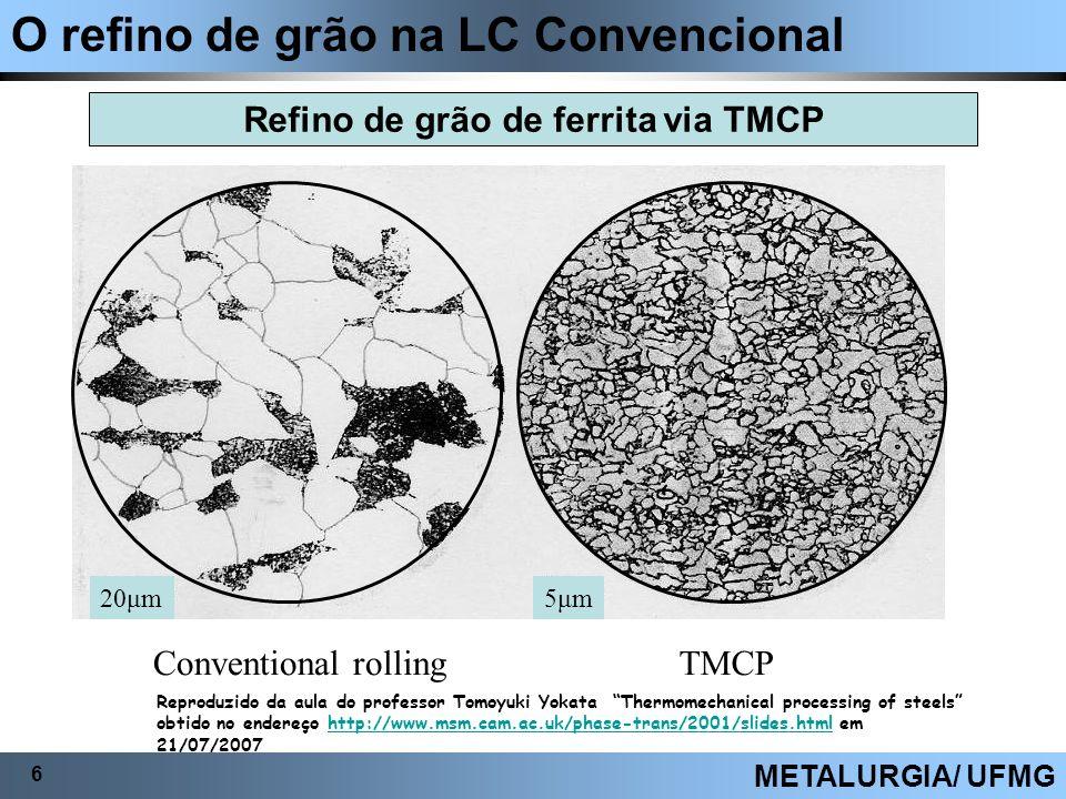 Refino de grão de ferrita via TMCP