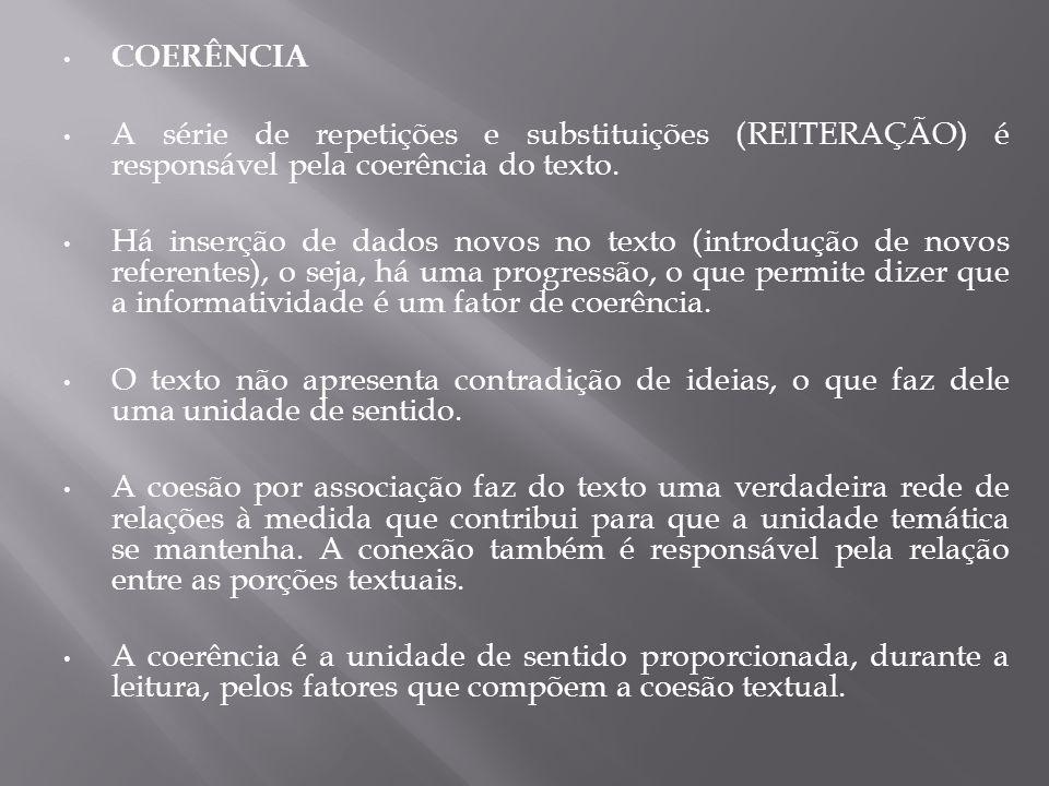 COERÊNCIA A série de repetições e substituições (REITERAÇÃO) é responsável pela coerência do texto.