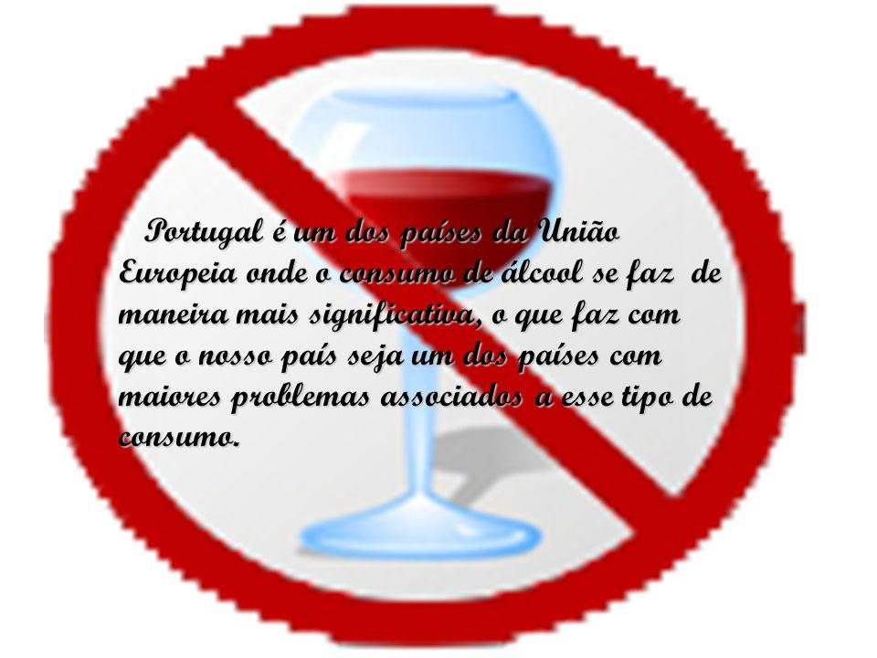 Portugal é um dos países da União Europeia onde o consumo de álcool se faz de maneira mais significativa, o que faz com que o nosso país seja um dos países com maiores problemas associados a esse tipo de consumo.