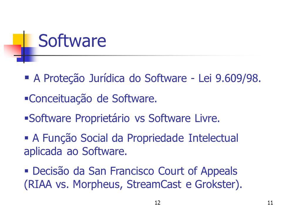 Software A Proteção Jurídica do Software - Lei 9.609/98.