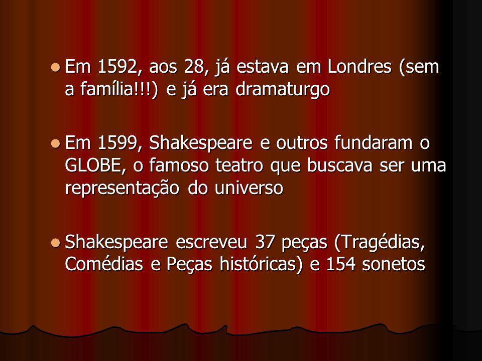 Em 1592, aos 28, já estava em Londres (sem a família