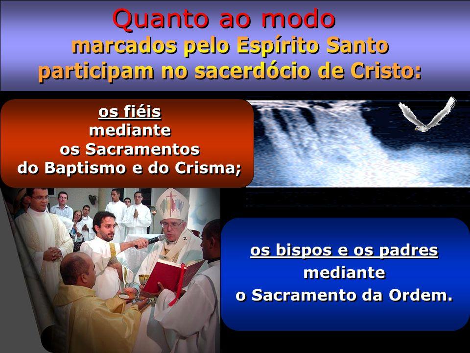 marcados pelo Espírito Santo participam no sacerdócio de Cristo: