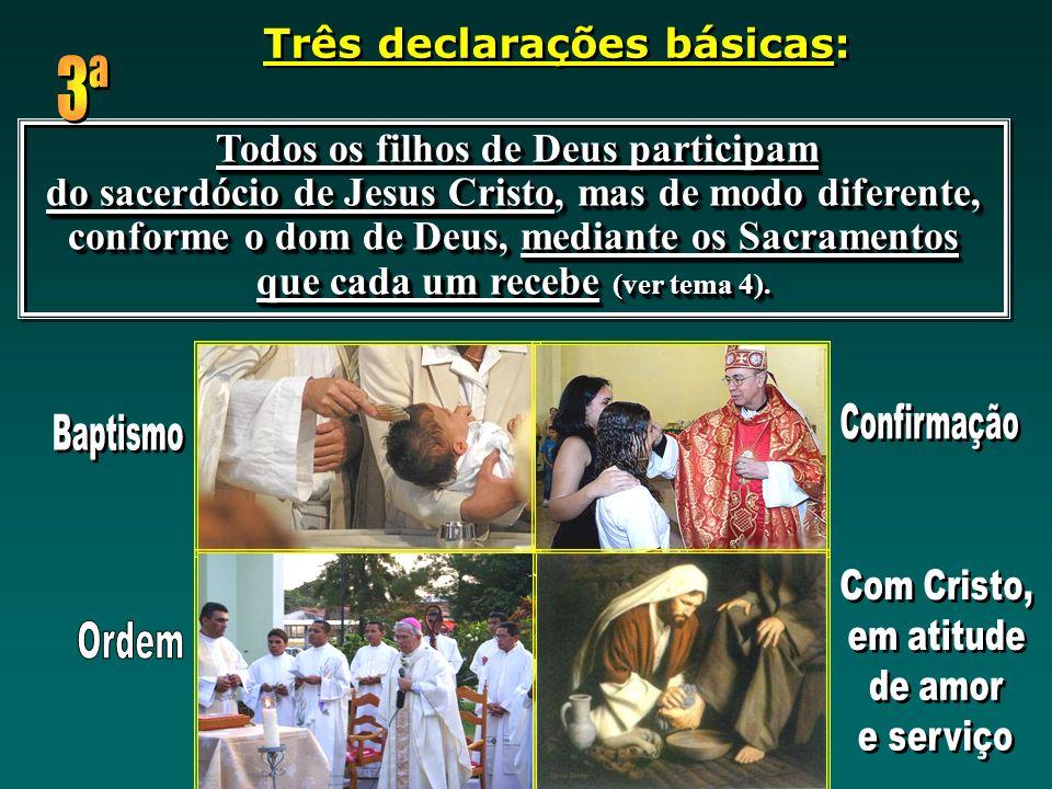 3ª Baptismo Ordem Três declarações básicas: Confirmação Com Cristo,