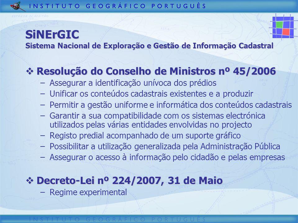 3/30/2017 SiNErGIC Sistema Nacional de Exploração e Gestão de Informação Cadastral. Resolução do Conselho de Ministros nº 45/2006.