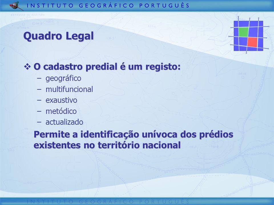 Quadro Legal O cadastro predial é um registo: