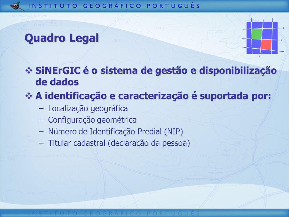 3/30/2017 Quadro Legal. SiNErGIC é o sistema de gestão e disponibilização de dados. A identificação e caracterização é suportada por: