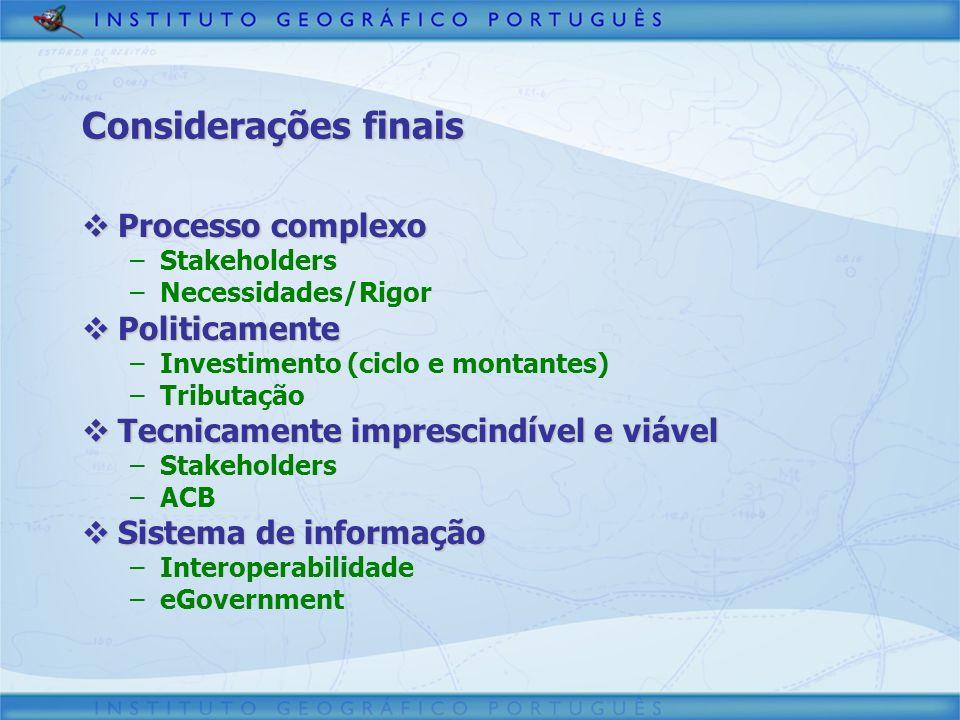 Considerações finais Processo complexo Politicamente