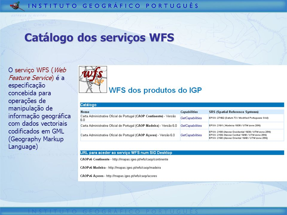 Catálogo dos serviços WFS