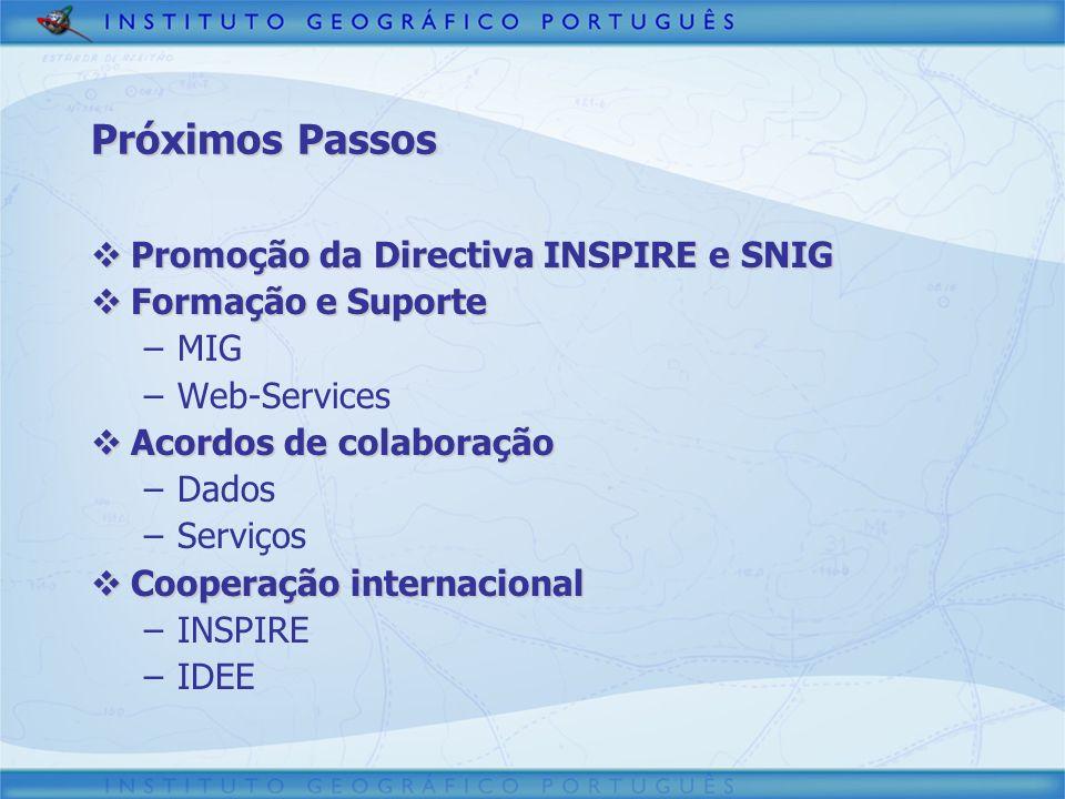 Próximos Passos Promoção da Directiva INSPIRE e SNIG