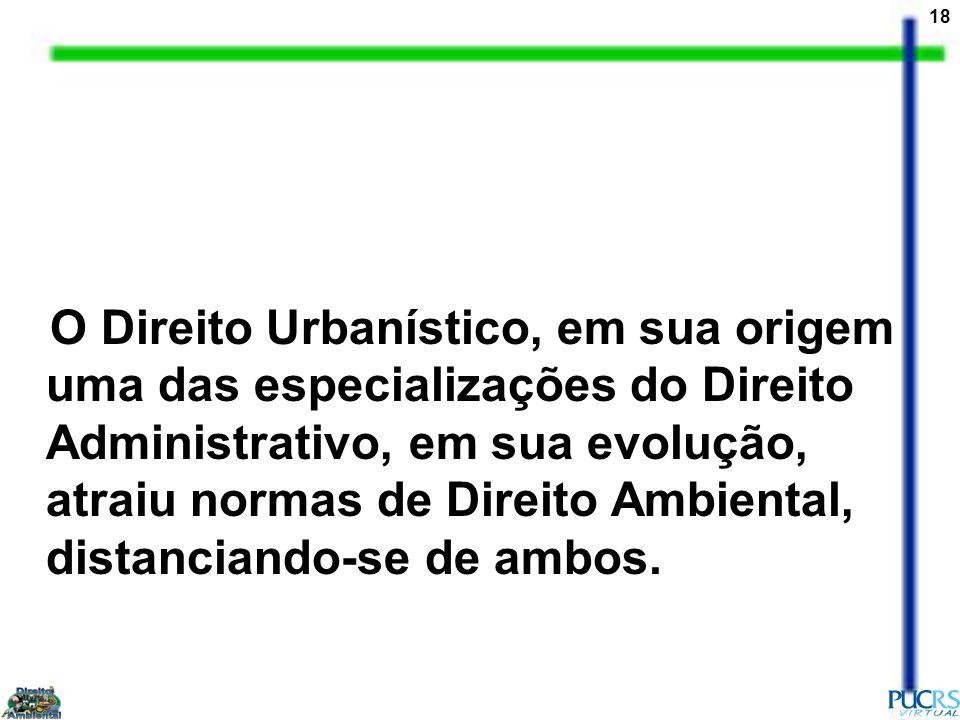 O Direito Urbanístico, em sua origem uma das especializações do Direito Administrativo, em sua evolução, atraiu normas de Direito Ambiental, distanciando-se de ambos.
