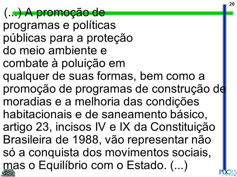 (...) A promoção de programas e políticas públicas para a proteção do meio ambiente e combate à poluição em qualquer de suas formas, bem como a promoção de programas de construção de moradias e a melhoria das condições habitacionais e de saneamento básico, artigo 23, incisos IV e IX da Constituição Brasileira de 1988, vão representar não só a conquista dos movimentos sociais, mas o Equilíbrio com o Estado.