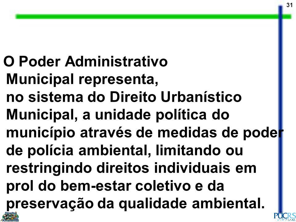 O Poder Administrativo Municipal representa, no sistema do Direito Urbanístico Municipal, a unidade política do município através de medidas de poder de polícia ambiental, limitando ou restringindo direitos individuais em prol do bem-estar coletivo e da preservação da qualidade ambiental.