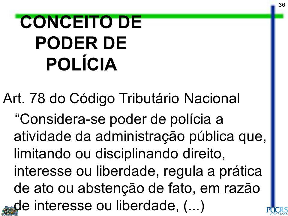 CONCEITO DE PODER DE POLÍCIA