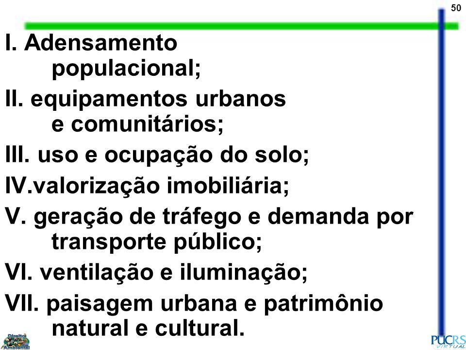 I. Adensamento populacional;