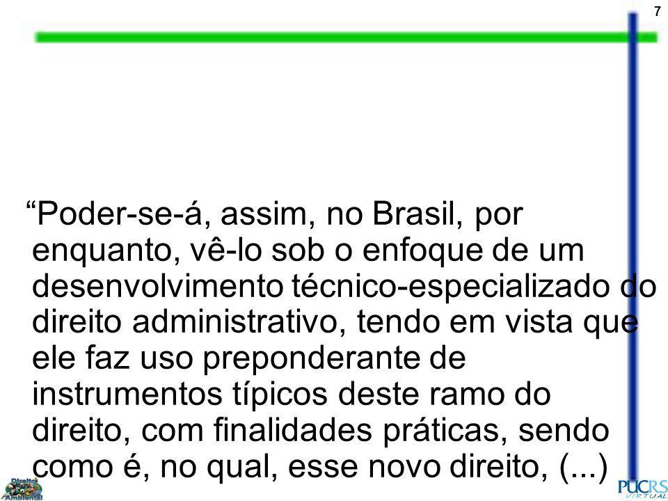 Poder-se-á, assim, no Brasil, por enquanto, vê-lo sob o enfoque de um desenvolvimento técnico-especializado do direito administrativo, tendo em vista que ele faz uso preponderante de instrumentos típicos deste ramo do direito, com finalidades práticas, sendo como é, no qual, esse novo direito, (...)