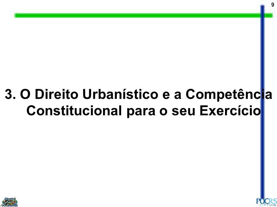 3. O Direito Urbanístico e a Competência Constitucional para o seu Exercício