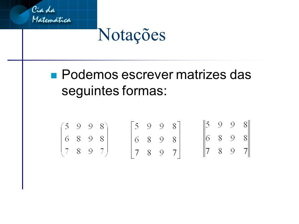 Notações Podemos escrever matrizes das seguintes formas: